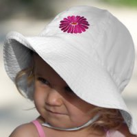 baby sun hat white flower