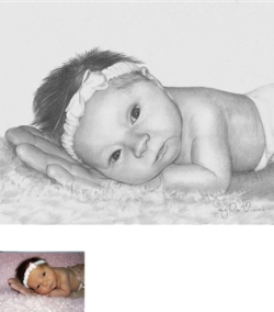 easter baby gift pencil drawing